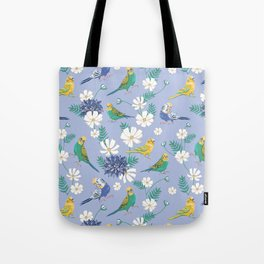 Budgies Pattern on Blue Tote Bag