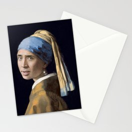 The Nic With the Pearl Earring (Nicholas Cage Face Swap) Stationery Cards