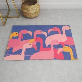 Flamingo Party / Whimsical Bird Illustration Rug