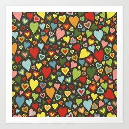 little colorful hearts Art Print