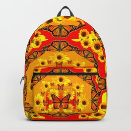 LACY RED-GOLD YELLOW SUNFLOWERS & MONARCH BUTTERFLIES Backpack