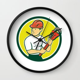 Plumber Holding Monkey Wrench Circle Cartoon Wall Clock