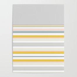 Blue Grey Gold Stripe Mix & Match Poster