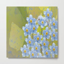 Forget-me-not flowers - watercolor art on green background Metal Print