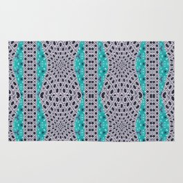 Trending Turquoise and Grey Black Stripe Pattern Design Rug