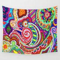 paisley Wall Tapestries featuring Paisley by Marcela Caraballo