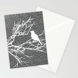 Bird on a Branch, White Against Black Pattern Stationery Cards
