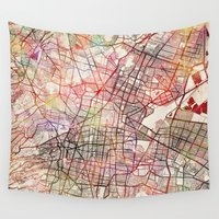 mexico Wall Tapestries featuring Mexico by MapMapMaps.Watercolors