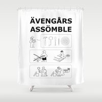 superheroes Shower Curtains featuring Superheroes Assembling - Black & White by Byway