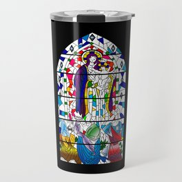 Mary and Jesus - stained glass window style Travel Mug