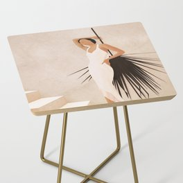 Minimal Woman with a Palm Leaf Side Table