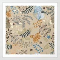 floral pattern Art Prints featuring Floral pattern by De Assuncao création