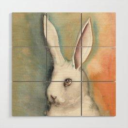 Portrait of a White Rabbit Wood Wall Art