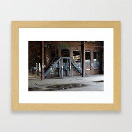 Graffiti Stairs with Train Framed Art Print