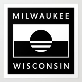 Milwaukee Wisconsin - Black - People's Flag of Milwaukee Art Print