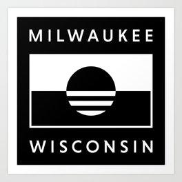Milwaukee Wisconsin - Black - People's Flag of Milwaukee Art Print