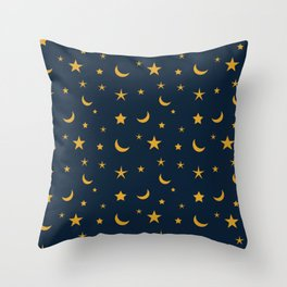 Yellow moon and star pattern on Navy blue background Throw Pillow