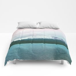 Mountain Lake - Nature Photography - Turquoise Teal Pink Comforters