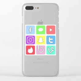 Social Media Icons Clear iPhone Case