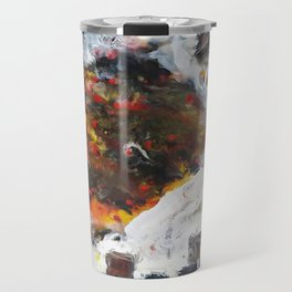 Stairway to Stasis - Mixed Media Fossil Beeswax Encaustic Abstract Modern Fine Art, 2015 Travel Mug