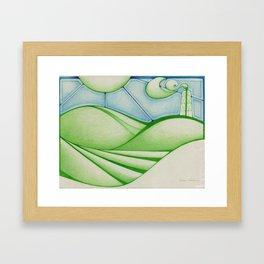 Green Oil Framed Art Print