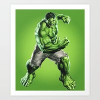 hulk Art Prints featuring HULK by Hands in the Sky