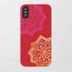 Happy bright lace flower - red iPhone X Slim Case