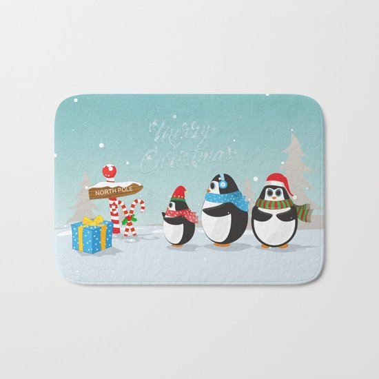 Christmas Penguins Bath Mat