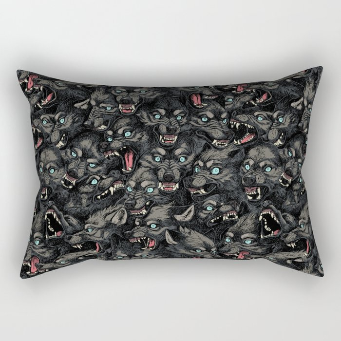 Wolf Pack Pattern Rectangular Pillow