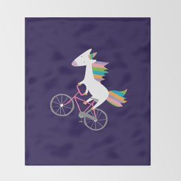 bike unicorn  Throw Blanket