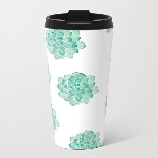 Succulent print Metal Travel Mug