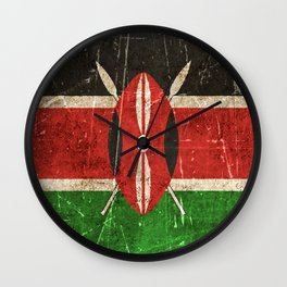 Vintage Aged and Scratched Kenyan Flag Wall Clock