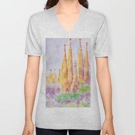 Sagrada Familia Barcelona Unisex V-Neck