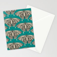 swallowtail butterfly teal black Stationery Cards