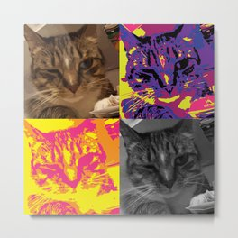 Pop Art Inspired Winking Kitty Cat Metal Print