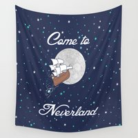 neverland Wall Tapestries featuring Peter Pan Neverland in Navy by foreverwars