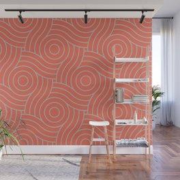 Pantone Living Coral & Storm Gray Circle Swirl Pattern Wall Mural