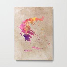 Greece map #greece #map Metal Print