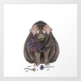 Pig with Flowers Art Print