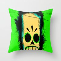 grim fandango Throw Pillows featuring Manny Calavera, Green version (Grim Fandango) by acefecoo