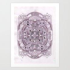 botanical inspired zentangle - Rose addition Art Print