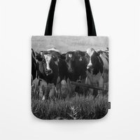 cows Tote Bags featuring Cows by Julie Luke