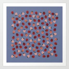 All over Modern Ladybug on Plum Background Art Print