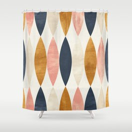 Colorful Pastel Geometric Scale Pattern Pink Navy Gold Art Deco Shower Curtain