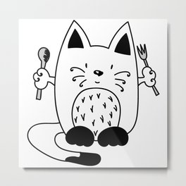 CAT EXPECTING TO EAT Metal Print