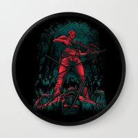 monster hunter Wall Clocks featuring Hunter by Fuacka