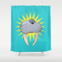 walrus Shower Curtains featuring Walrus by quietsight