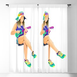 The girl from Saturn by #Bizzartino Blackout Curtain