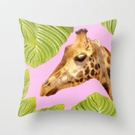 Giraffe with green leaves on a pink background Throw Pillow