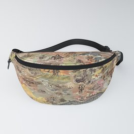 History of America Pictorial State map of Historical Events landscape painting by Aaron Bohrod Fanny Pack